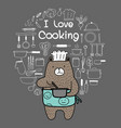 doodle bear chef is cooking vector image vector image