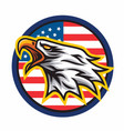 eagle logo mascot icon circle american flag vector image
