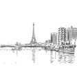 eiffel tower and river seine cityscape sketch vector image