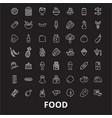 food editable line icons set on black vector image