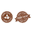 fresh cacao stamp seals with grunge texture in vector image vector image