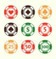 gambling poker chips design elements vector image vector image