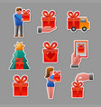 gifts stickers set vector image vector image