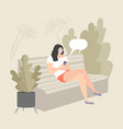 girl sitting on a bench and using smartphone vector image