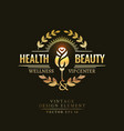 gold retro badge of the health and beauty vector image vector image