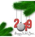 golf ball and 2019 on a christmas tree branch vector image