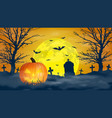 halloween night background scary cemetery vector image vector image