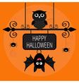 Happy Halloween card Bat hanging on wrought iron vector image vector image