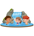 happy kids at waterfall vector image vector image