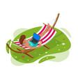 isometric garden hammock relaxing in hammock vector image vector image