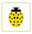 Ladybug yellow realistic cartoon icon vector image vector image