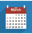 Leaf calendar 2017 with the month of March days vector image vector image