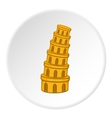 Leaning tower of Pisa icon cartoon style