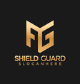 letter ag ga shield guard modern logo stock