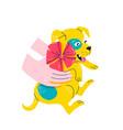 little cute terrier puppy in his hands vector image