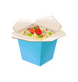 noodles in cardboard box with mushrooms and vector image
