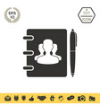 notebook address phone book with symbol of group vector image