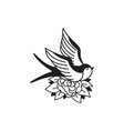old school tattoo emblem label with swallow rose vector image vector image