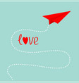origami red paper plane dash line in the sky love vector image vector image