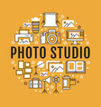 photography equipment poster with flat line icons vector image