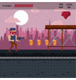 pixelated city videogame scenery vector image vector image
