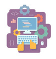 programming and and coding flat concept vector image