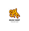 sax - logo for music shop in comic style vector image vector image
