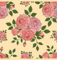 seamless pattern made from pink roses hand drawn vector image