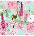 seamless pattern with garden roses and exotic vector image vector image