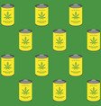 seamless pattern with marijuana cans canned hemp vector image vector image