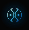 snowflake in circle blue icon in thin line vector image