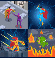 superheroes supervillains isometric concept vector image
