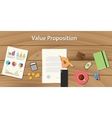 value proposition concept with hand vector image vector image