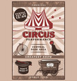 vintage circus performance poster vector image vector image