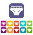 woman cotton panties icons set flat vector image vector image