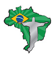 Map of Brazil with flag and statue of Jesus Christ vector image