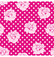 Seamless pink roses and white dots pattern vector image