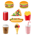 set icons of fast food isolated on white backgroun vector image