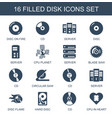 16 disk icons vector image vector image