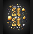 2020 happy new year message gold and white design vector image