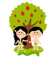 adam and eve under an apple tree vector image