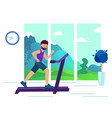 an adult man on a treadmill doing sports vector image vector image