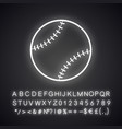 baseball ball neon light icon vector image