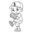 baseball pitcher boy ready to throw bw vector image