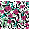 blooming flowers and foliage on twigs pattern vector image