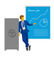 businessman shows poster with business plan vector image vector image