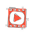 cartoon play button icon in comic style play vector image vector image