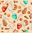 christmas gingerbread mulled wine cocoa seamless vector image