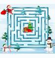 christmas maze game template vector image