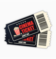 cinema ticket template of black realistic movie vector image
